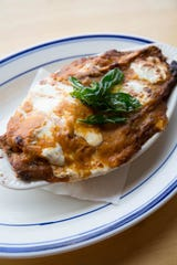 Bounty on Broad's eggplant lasagna features an Indian-inspired marinara, giving this comfort dish a delightfully flavorful spin.