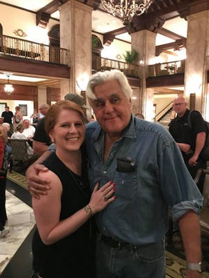 Ansleigh-Elizabeth Morris pictured with Jay Leno at the Peabody hotel in downtown Memphis.