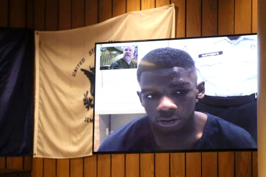 Quandarius Richardson appears via video during his arraignment at the Shelby County Courthouse on Oct. 1.
