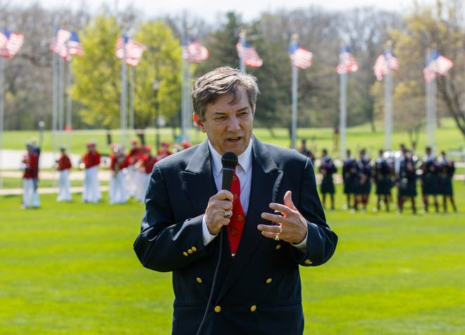 Jack H. Albert Jr., president of St. John's Northwestern Military Academy, addresses the crowd during a formal parade and ceremony at SJNMA to honor first responders from Delafield and surrounding communities in April 2016. Albert has announced that he'll be stepping down as St. John's Northwestern president in June 2019.