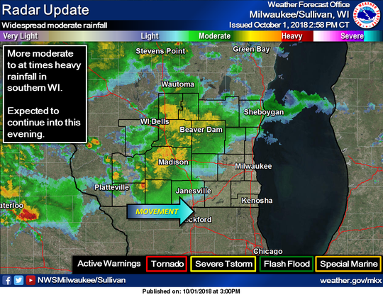 Rain continues to move across southern Wisconsin.