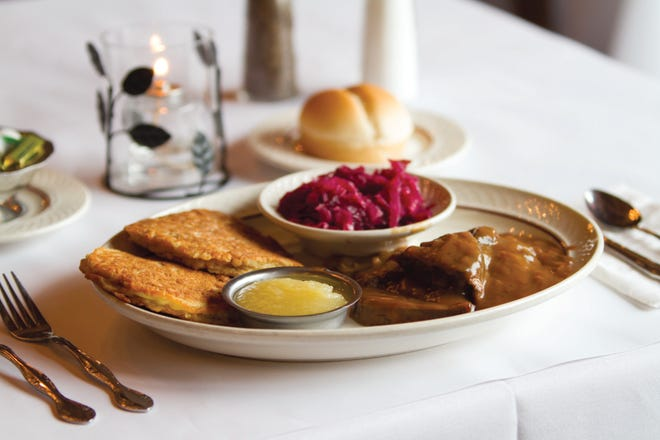 Schwefel's stays loyal to its German name and heritage with an entire section of entrees with the sauerbraten among the most popular.