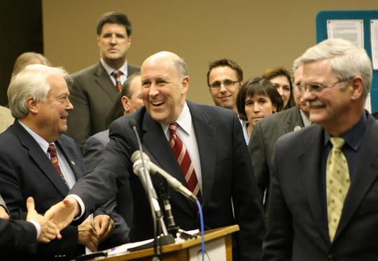 Gov. Jim Doyle in 2008 after passage in Wisconsin of enabling legislation governing the Great Lakes Compact.