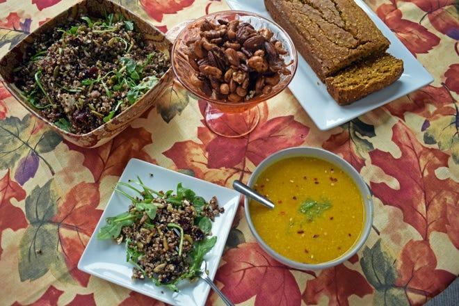 Quinoa salad, spiced nuts, squash soup and maple pumpkin bread complete a fall pumpkin spice menu.