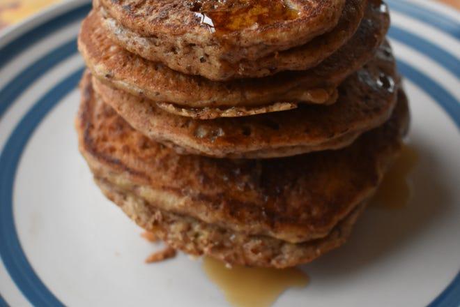 Pumpkin Spiced Almond Flour Pancakes make a hearty, healthy fall breakfast.