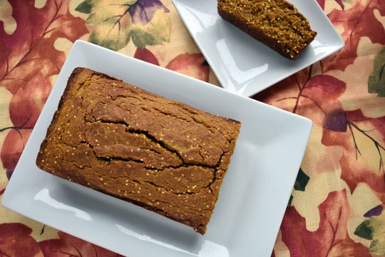 Maple pumpkin bread is flecked with millet.