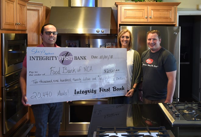 Shay's Appliance recently donated $2,920 to the Food Bank of North Central Arkansas in recognition of Bridge Bash. Shown in the photo are (from left) Jeff Quick, Food Bank Executive Director; Susan Stockton, events development director for the Food Bank; and Brendan Shay, owner of Shay's Appliance. For the eighth consecutive year, Shay's Appliance made a donation to the Food Bank for each appliance it sold from late July through Bridge Bash. Shay's 2018 donation will provide 20,440 meals for area programs, and the appliance retailer estimates it has provided about 1.2 million meals through Food Bank donations.