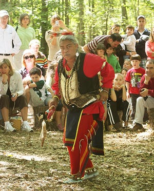 Lenape Day at the Great Swamp--Richard 'Listening Bear' Powell from Highland Falls, NY, performs a dance for the crowd.