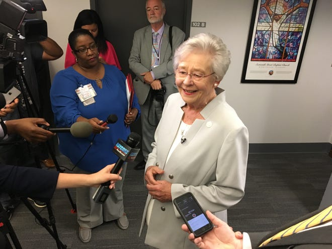 Gov. Kay Ivey speaks to the press at the Special Operations Center of the Office of Information Technology on Oct. 1, 2018.