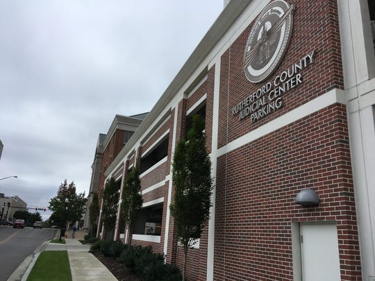 The Rutherford County Judicial Center parking garage on Maple Street in downtown Murfreesboro.