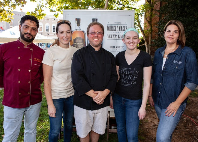 Hamad Abdelrahman, Christy Hackinson, Mitchell Murphree, Chantel Kennedy-Sheehan and Samantha Blake at Downtown on the Farm, held Sunday, Sept. 30 on the Murfreesboro Public Square. The fundraising dinner was organized by Locally Owned Murfreesboro.