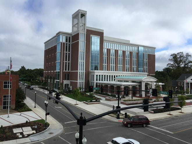 Rutherford County's new $73 million Judicial Center fronts north side of Lytle Street along east side of Maple Street in downtown Murfreesboro and includes a parking garage on west side of Maple and south side of Lytle.