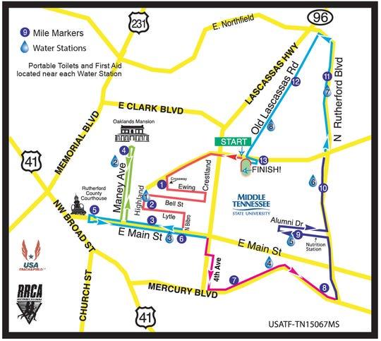 The course map for the 2018 Murfreesboro Half Marathon.