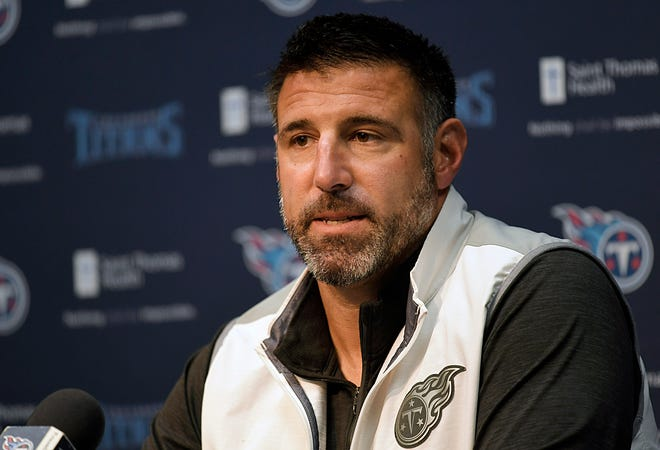 Titans coach Mike Vrabel holds a press conference on Monday.