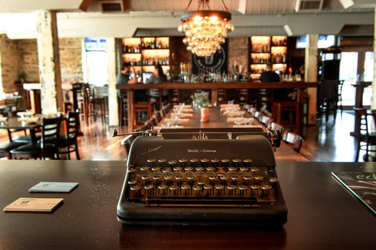 Guests are met with a typewriter as they walk into Hemingway's Bar & Hideaway.
