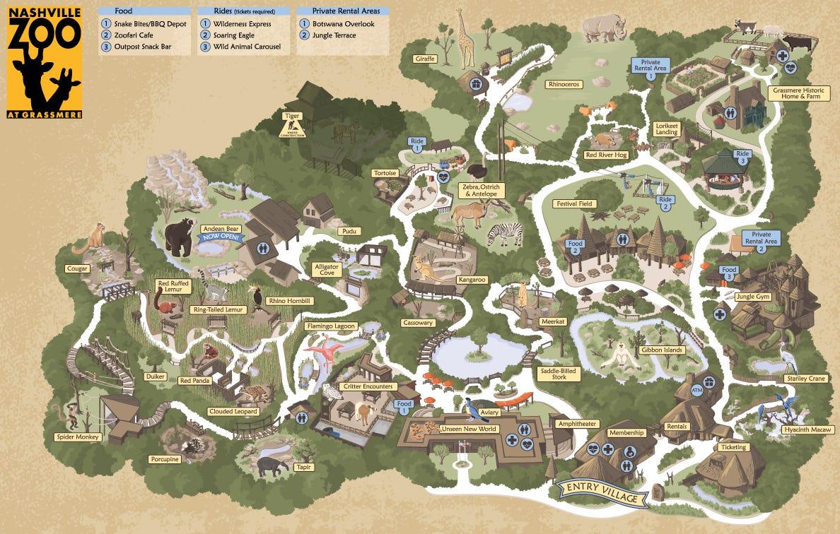 Nashville Zoo grounds map