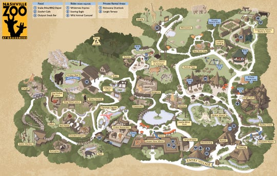 Nashville Zoo grounds map