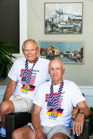Former Olympic rowers Peter Bos, right, and Kraft Schepke pose for a portrait in Naples on Monday, Oct. 1, 2018. Bos and Schepke competed in the 1960 Olympics in Rome for Team USA and Germany, respectively, and reconnected to compete together as teammates at a rowing event in Sarasota this month.
