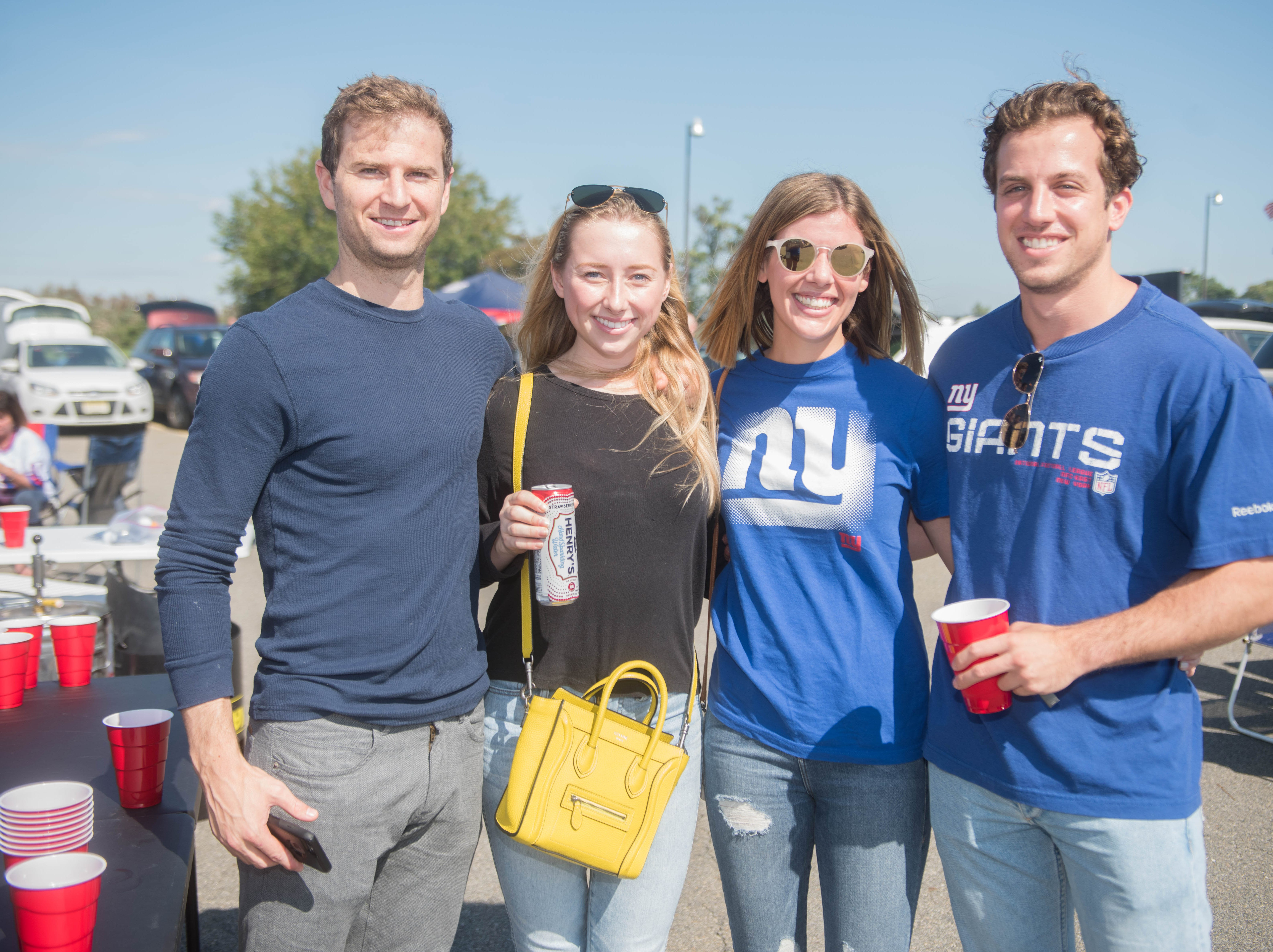 Joe Aronovsky, Christina Taylor, Samantha Brown and Brendan Moatz at the Giants vs. Saints tailgate party, Sunday, Sept. 30, 2018.