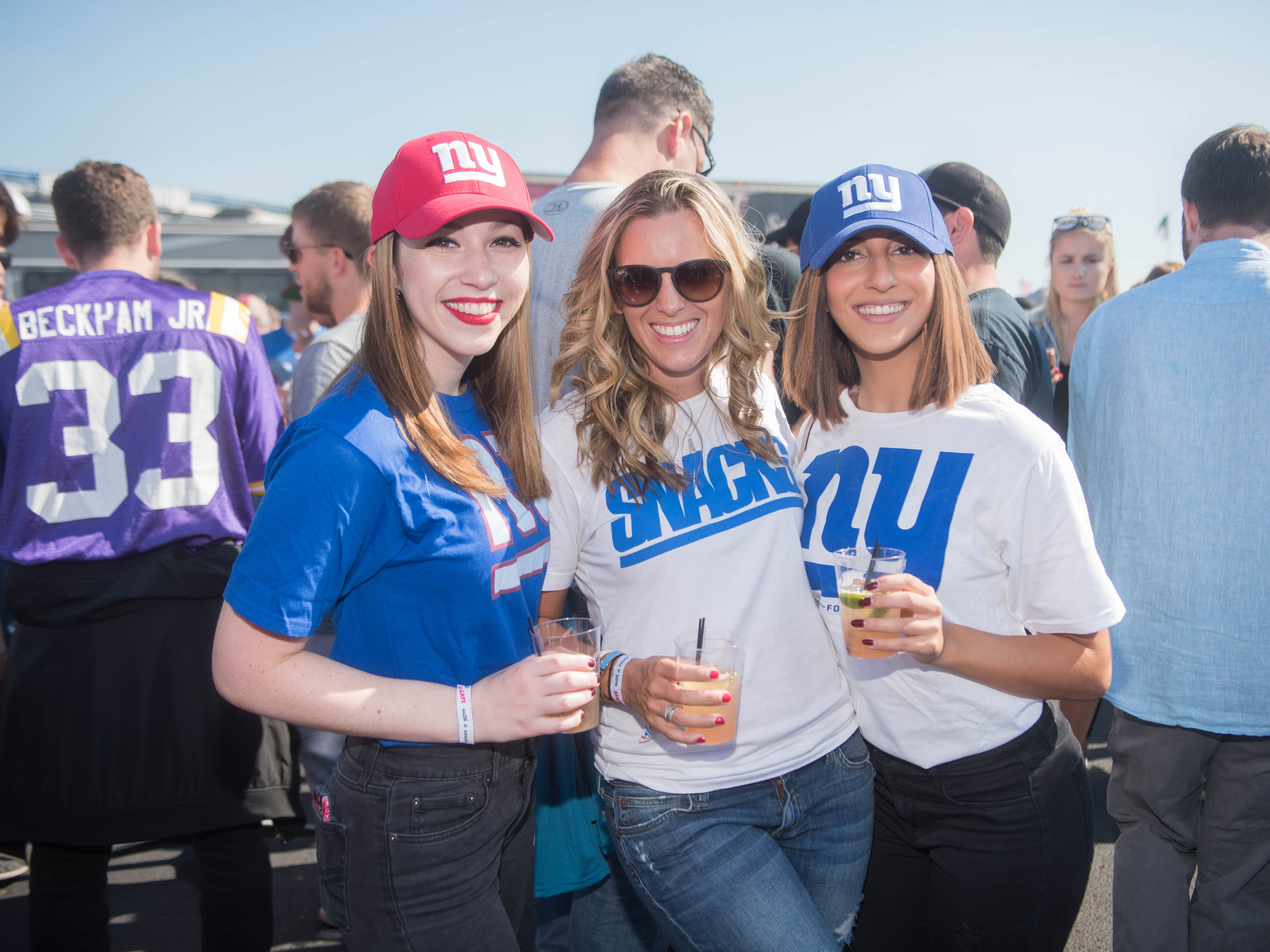 Ellie Rosen, Alyssa Marino and Ruby Sultan at the Giants vs. Saints tailgate party, Sunday, Sept. 30, 2018.