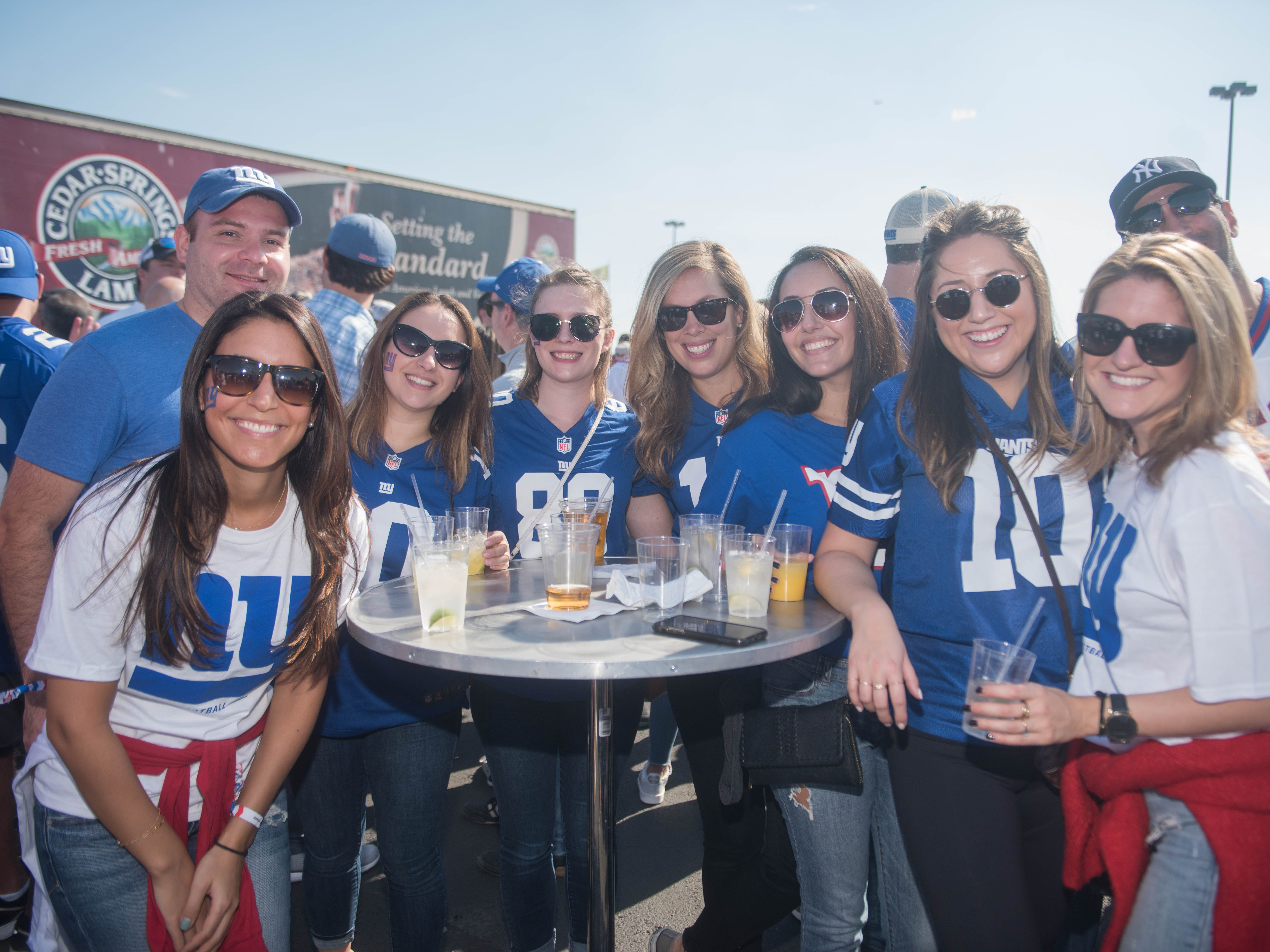 Beasann, Brian, Ana, Kelly, Devyn, Joanna, Shanyna and Allison at the Giants vs. Saints tailgate party, Sunday, Sept. 30, 2018.