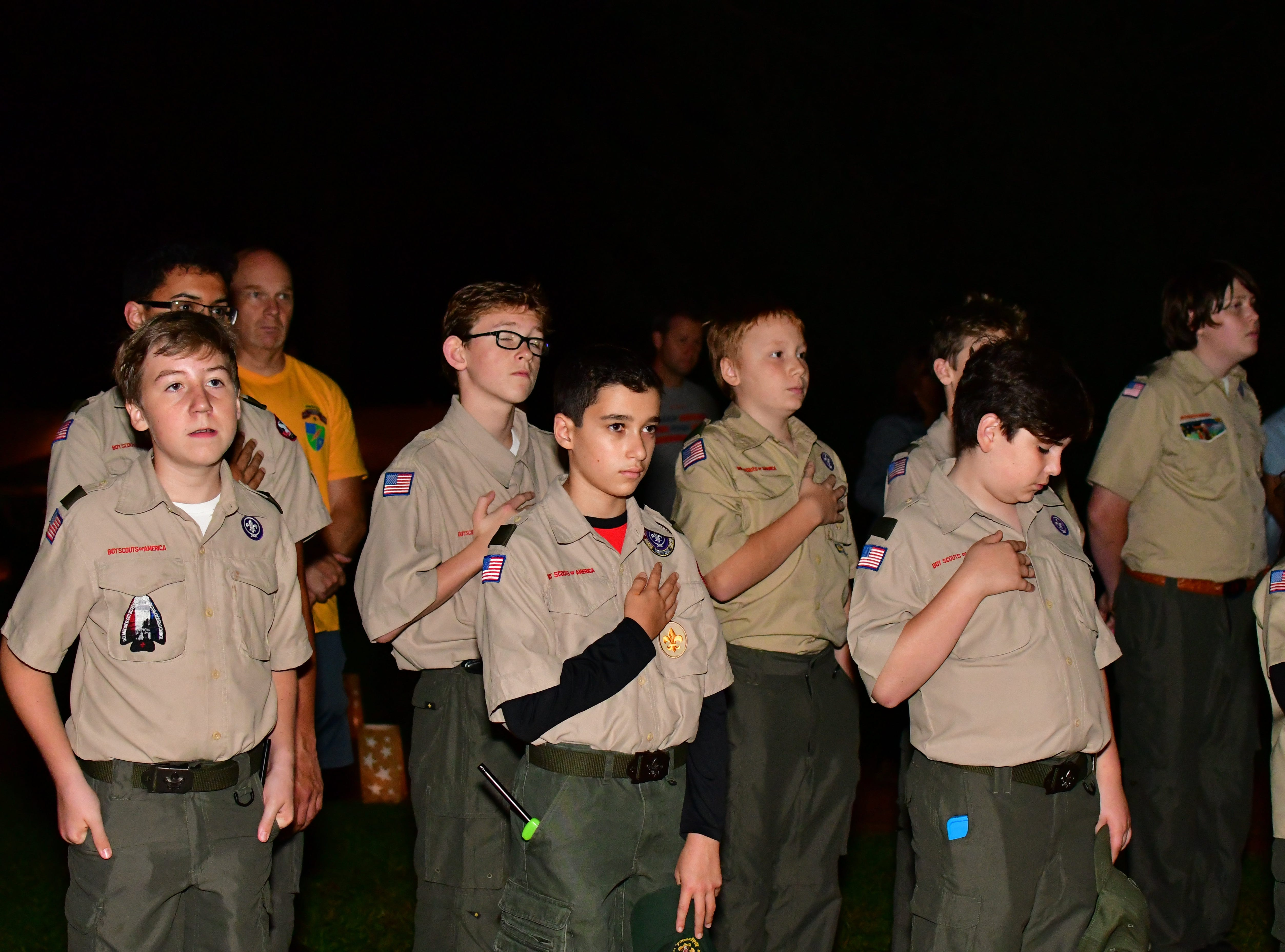 Boy Scouts at the ceremony. Mothers and families pay tribute to those who have lost their lives from service in the military.  At Van Neste Park in Ridgewood on Sept. 30.