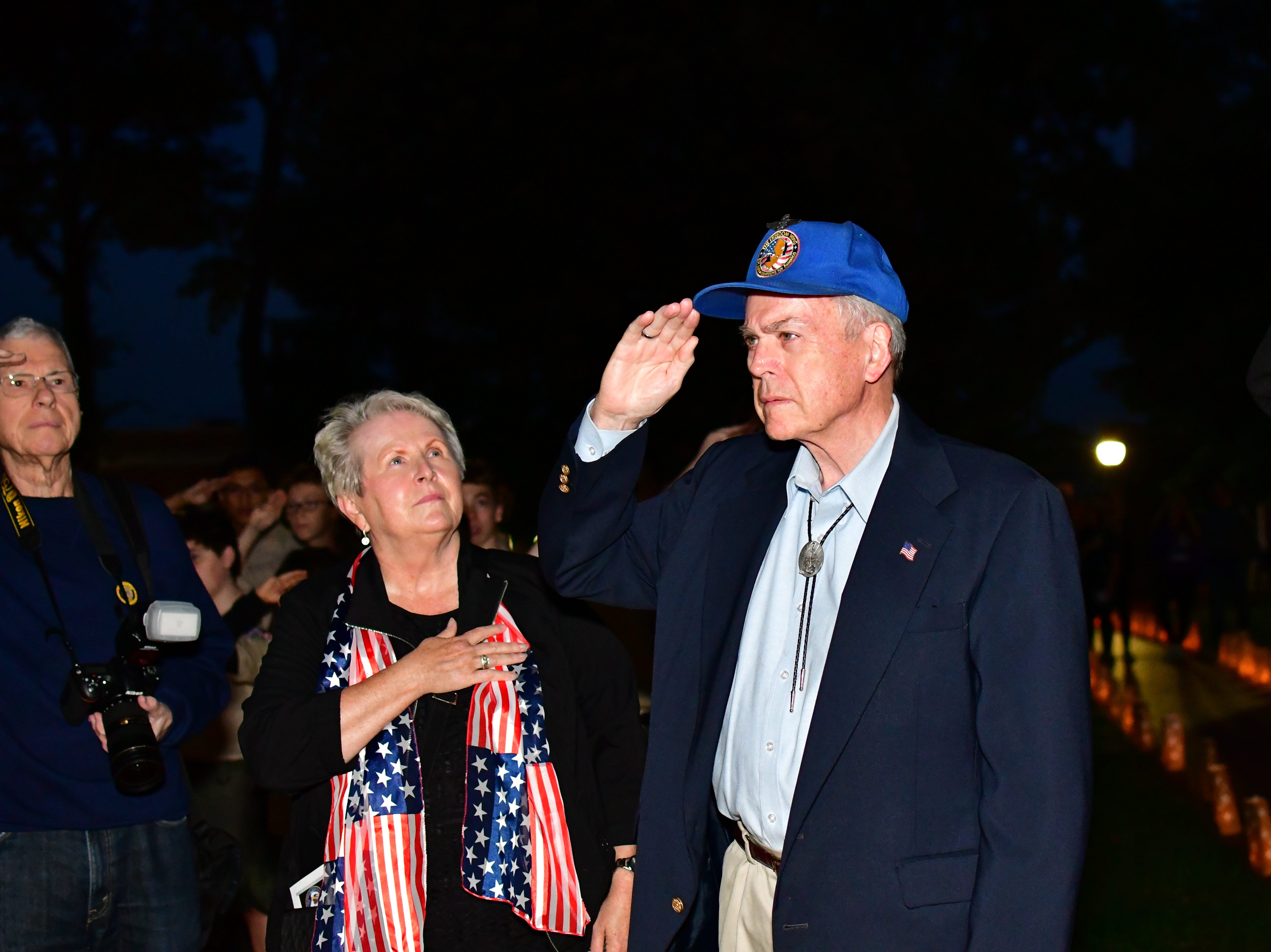 Margaret Gensch and Al Gensch. The Gold Star Mother's Day Committee sponsored its eighth annual event commemorating Gold Star Mother's Day on Sept. 30, at Van Neste Park, Ridgewood. After a short ceremony, hundreds of luminaries were lit to honor Gold Star Mothers (moms who had lost sons and daughters to the war) and their families.