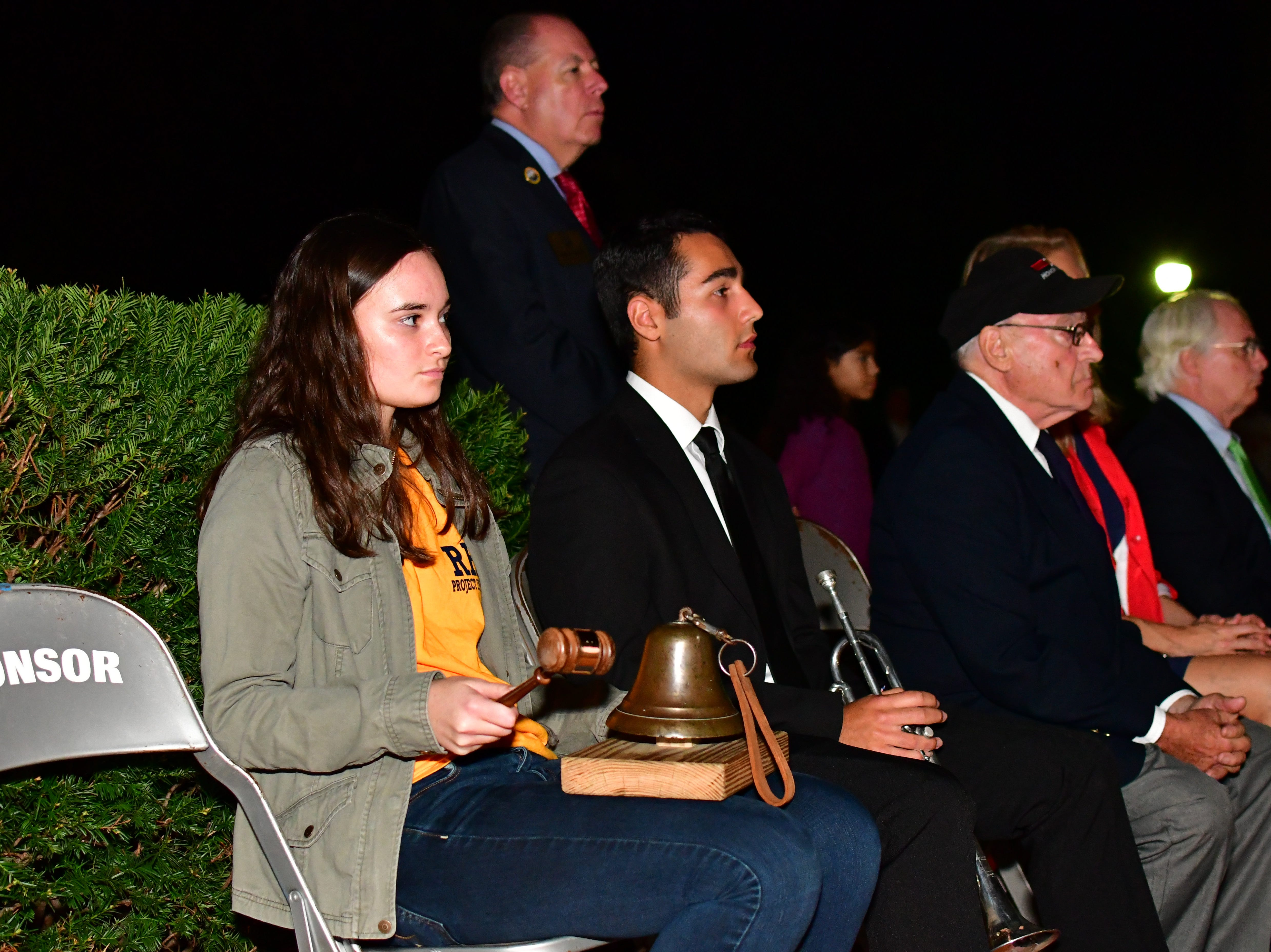 Madeline Grbic, tolling the bell.  The Gold Star Mother's Day Committee sponsored its eighth annual event commemorating Gold Star Mother's Day on Sept. 30, at Van Neste Park, Ridgewood. After a short ceremony, hundreds of luminaries were lit to honor Gold Star Mothers (moms who had lost sons and daughters to the war) and their families.