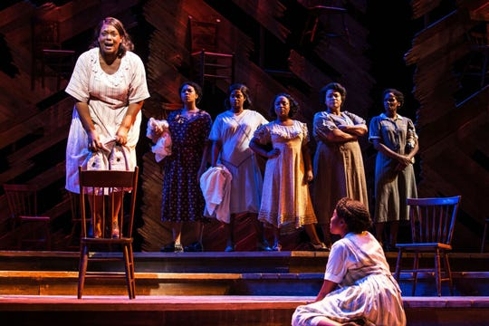 """The  Color  Purple"" at  Paper  Mill  Playhouse.  Carrie  Compere   (Sofia) and company."
