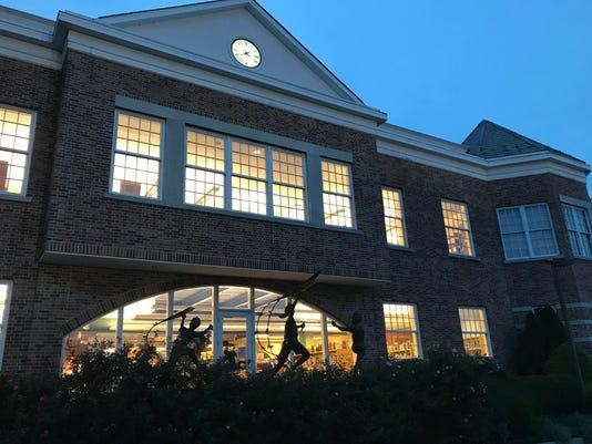 Ridgewood Public Library at night