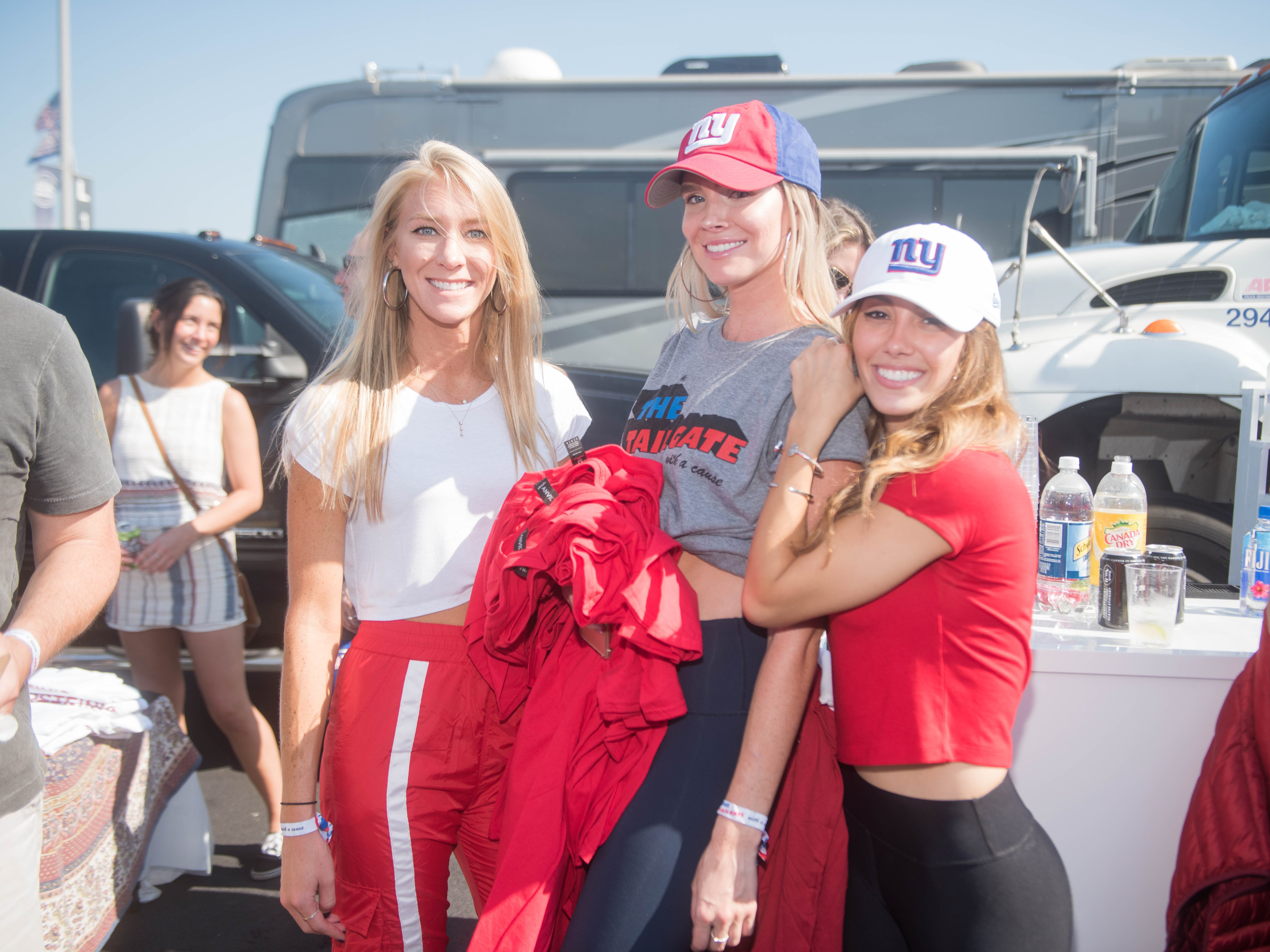 Emily Botta, Maura Nestor and Alexa Buffalino at the Giants vs. Saints tailgate party, Sunday, Sept. 30, 2018.