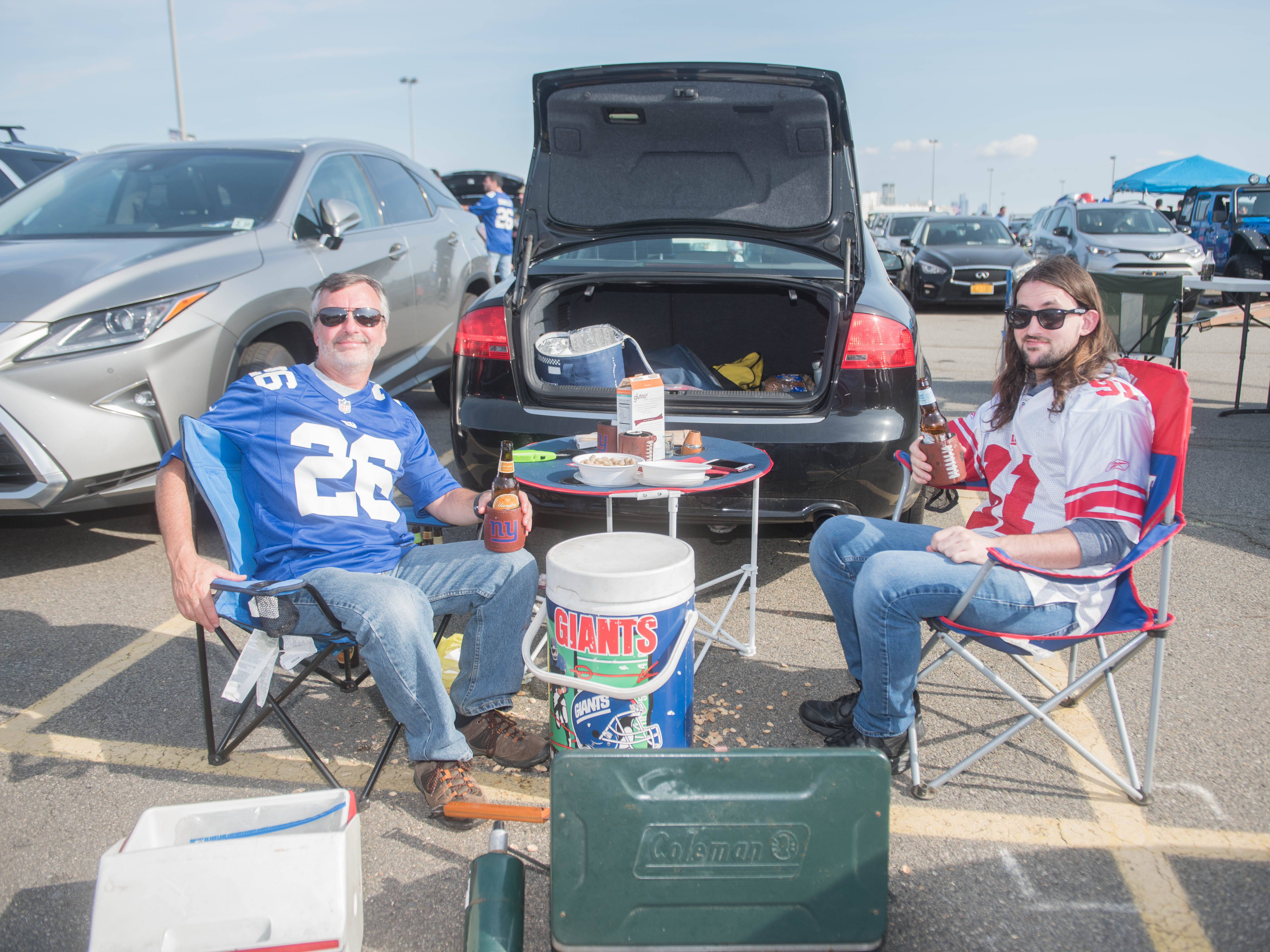 Phil and Alex at the Giants vs. Saints tailgate party, Sunday, Sept. 30, 2018.