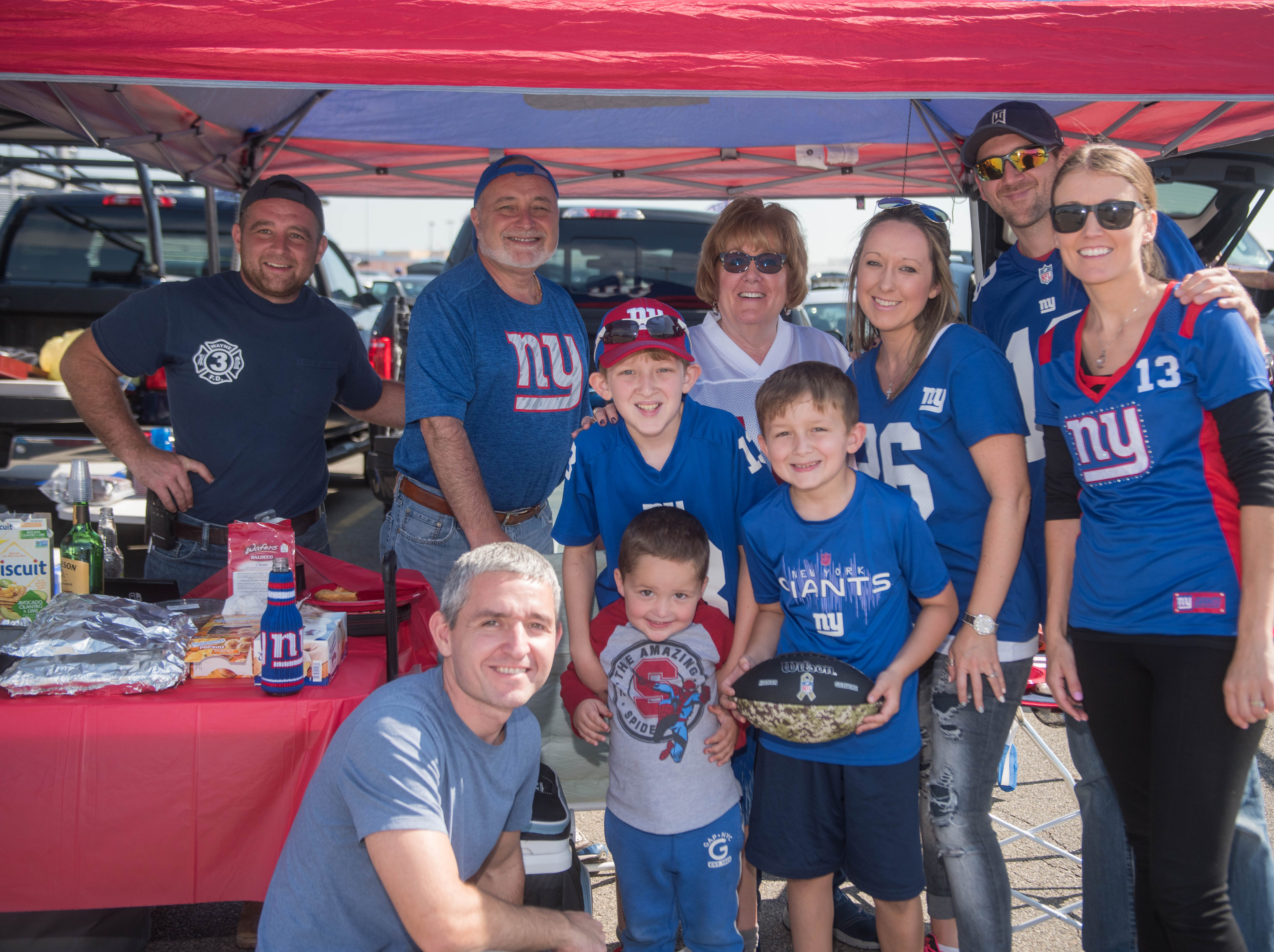 John, Ron, Kathy, Alex, Nicky, John, Ronnie, Nick, Jeanine John and Eva at the Giants vs. Saints tailgate party, Sunday, Sept. 30, 2018.