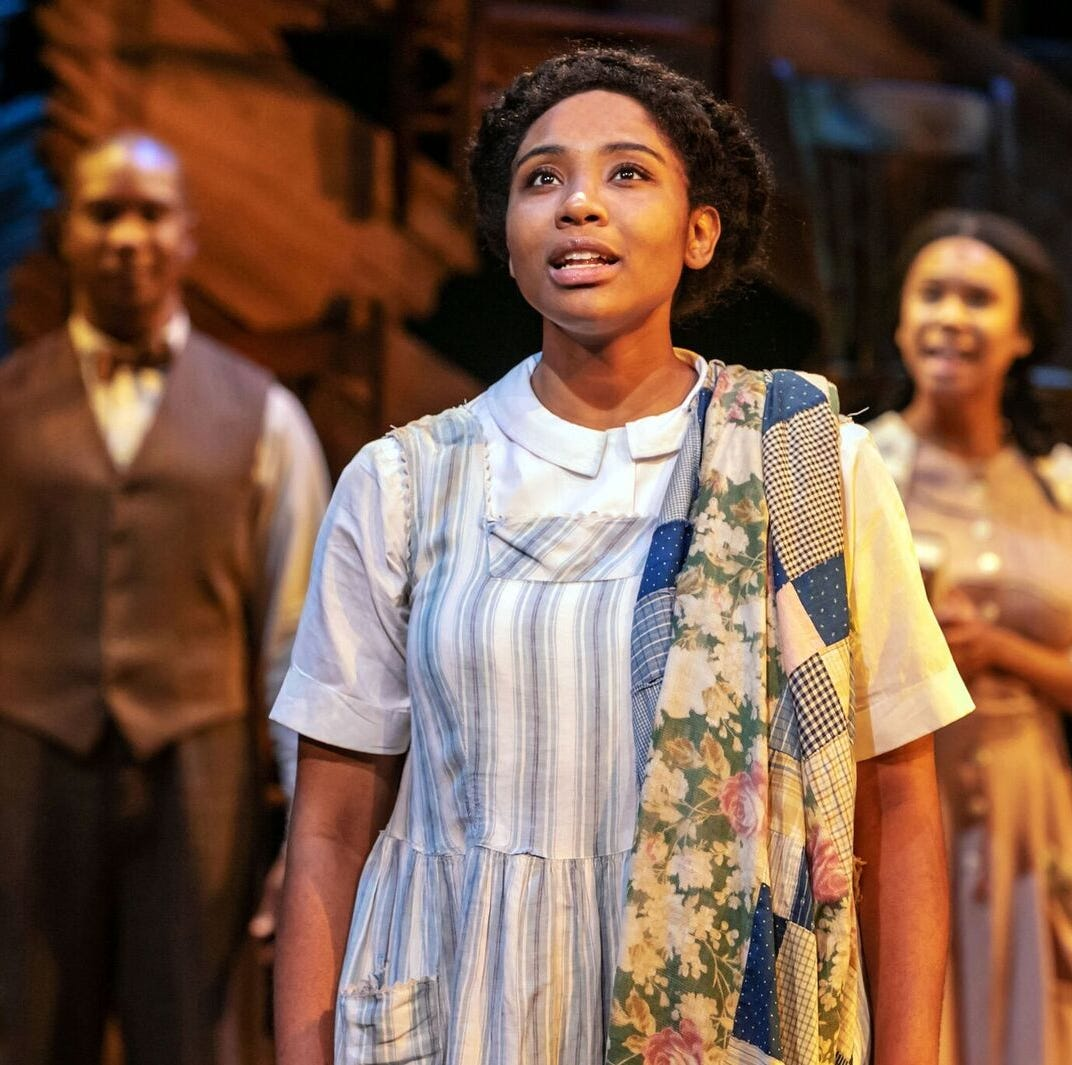 """The Color Purple"" at Paper Mill Playhouse.   Adrianna  Hicks  as Celie;  Background  from  left  to  right:  Darnell  Abraham; J'Ameh  Camara"