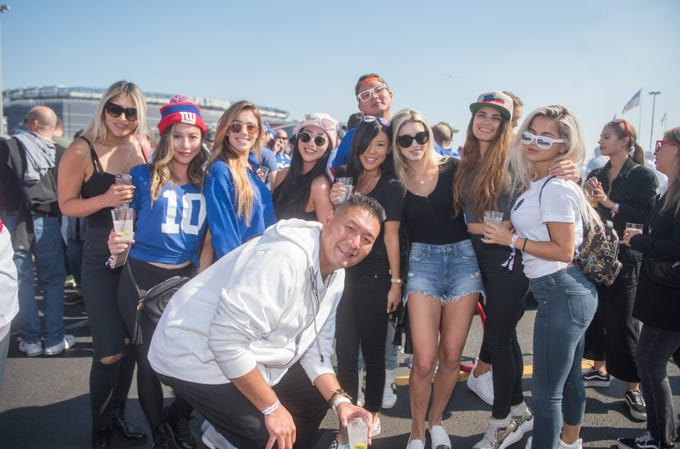 Giants fans at the tailgate before taking on the Saints Sunday, Sept. 30, 2018.