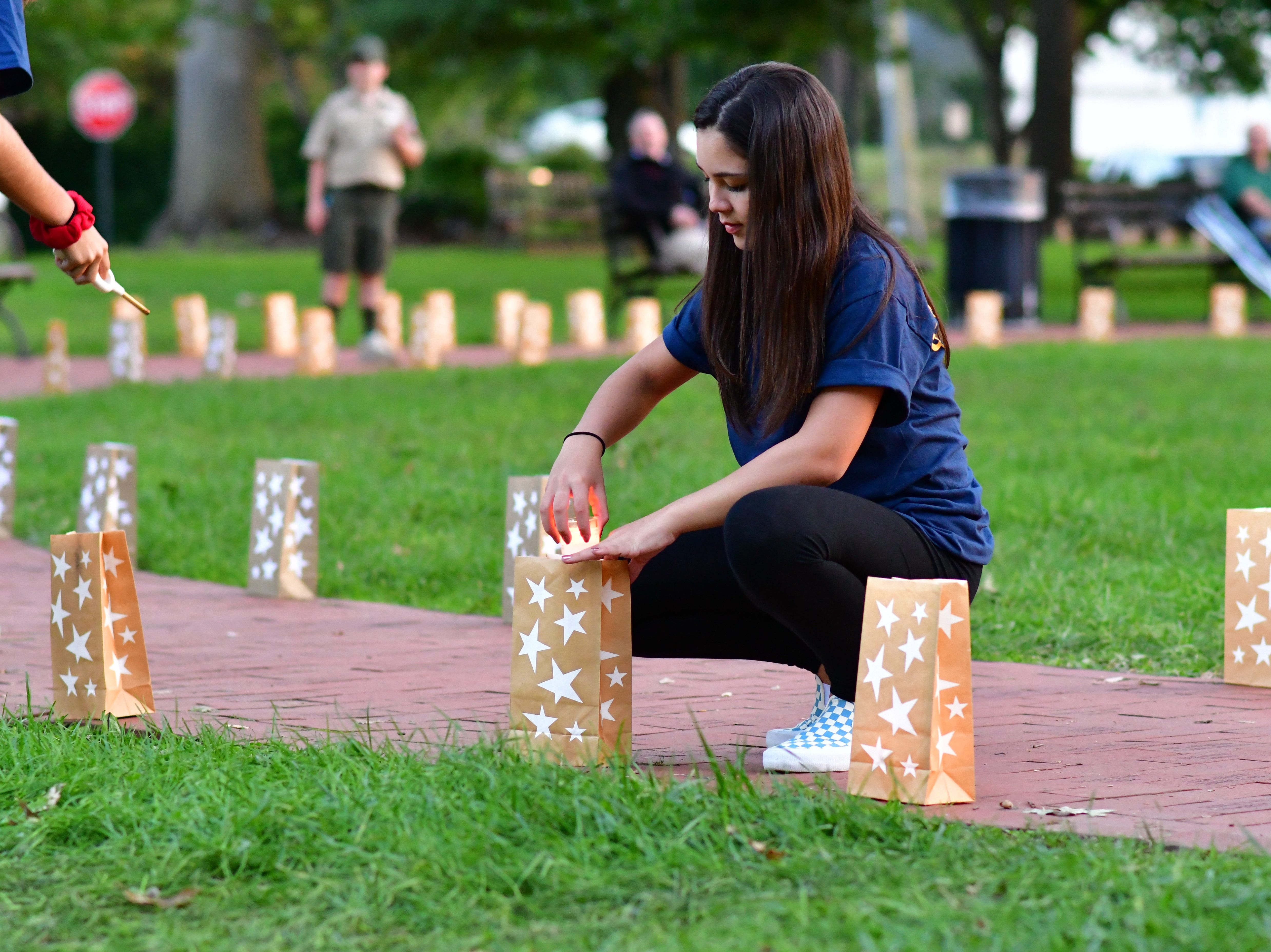 Mothers and families pay tribute to those who have lost their lives from service in the military.  At Van Neste Park in Ridgewood on Sunday evening, Sept. 30.