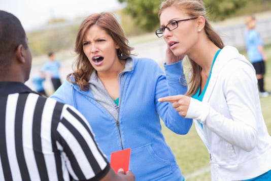 Angry Soccer Moms Yelling At Referee During Kids Game