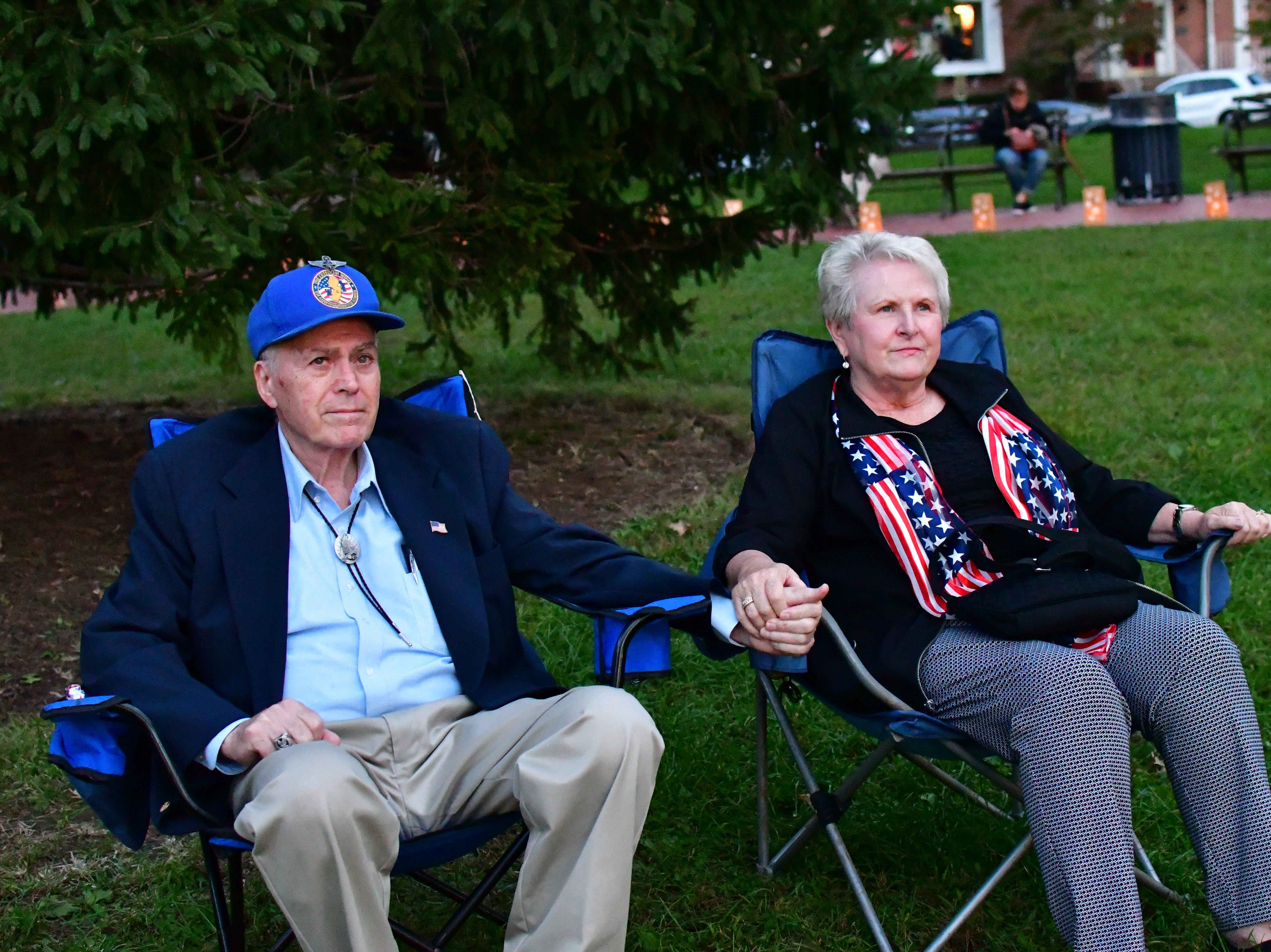Margaret Gensch, left, and Al Gensch, right. The Gold Star Mother's Day Committee sponsored its eighth annual event commemorating Gold Star Mother's Day on Sept. 30, at Van Neste Park, Ridgewood. After a short ceremony, hundreds of luminaries were lit to honor Gold Star Mothers (moms who had lost sons and daughters to the war) and their families.
