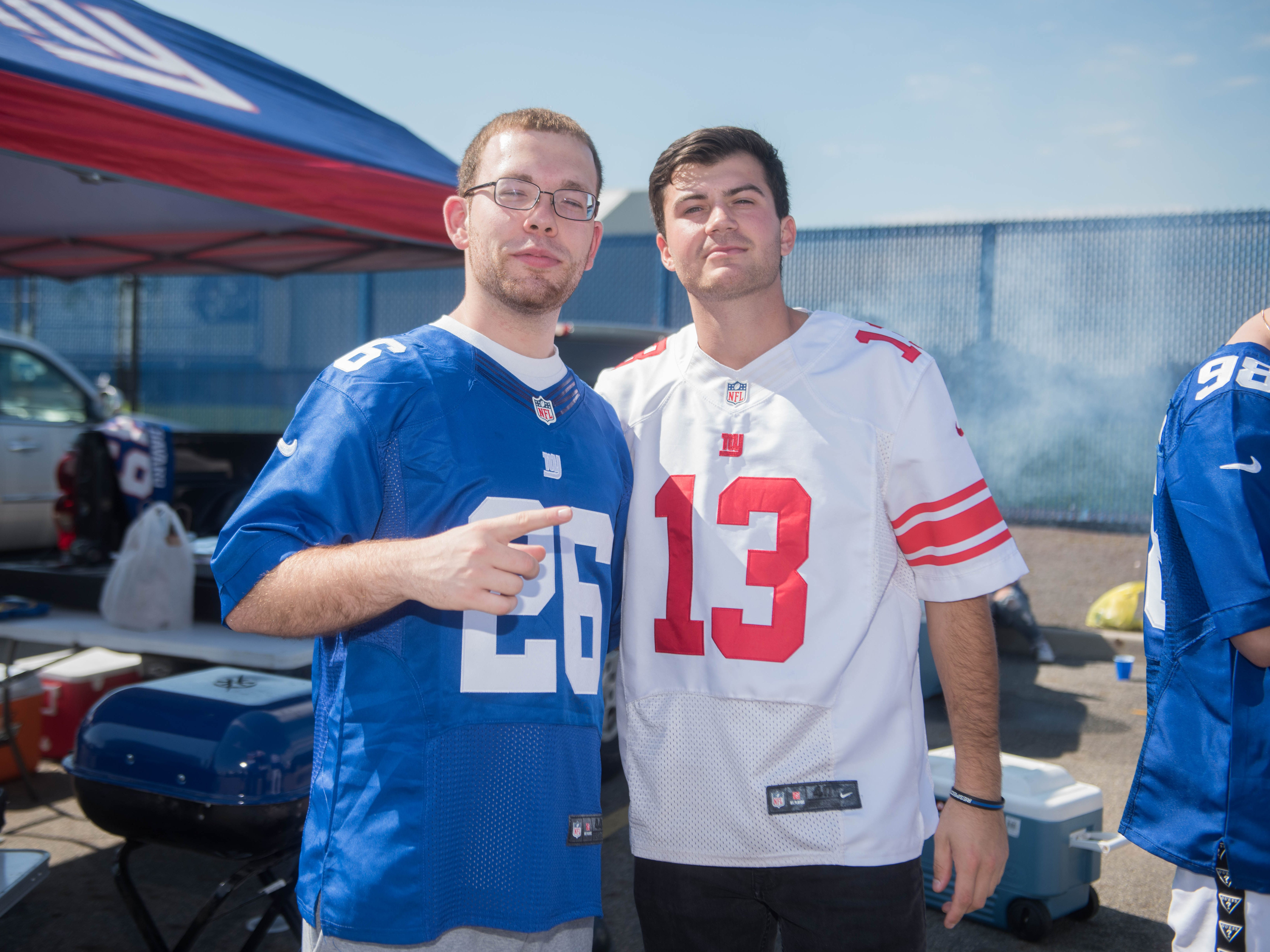 Giants fans at the tailgate before taking on the Saints, Sunday, Sept. 30, 2018.