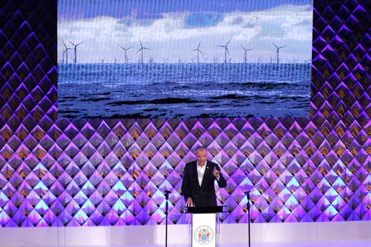 Governor Phil Murphy said New Jersey should be a global leader in wind power as he gave his address on the economic future of New Jersey, Monday, October 1, 2018, in Nutley.