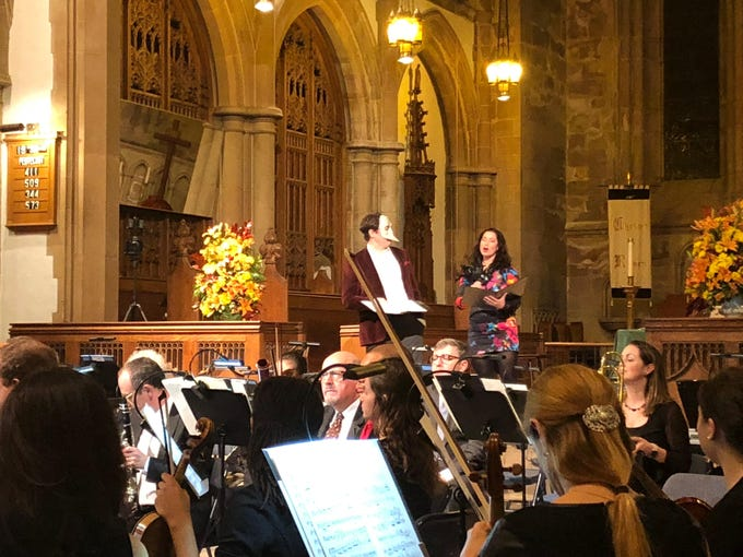 "Colin Ryan as Benedick and Pamela Kahl as Beatrice at the Montclair Orchestra's ""A Shakespeare Evening."""
