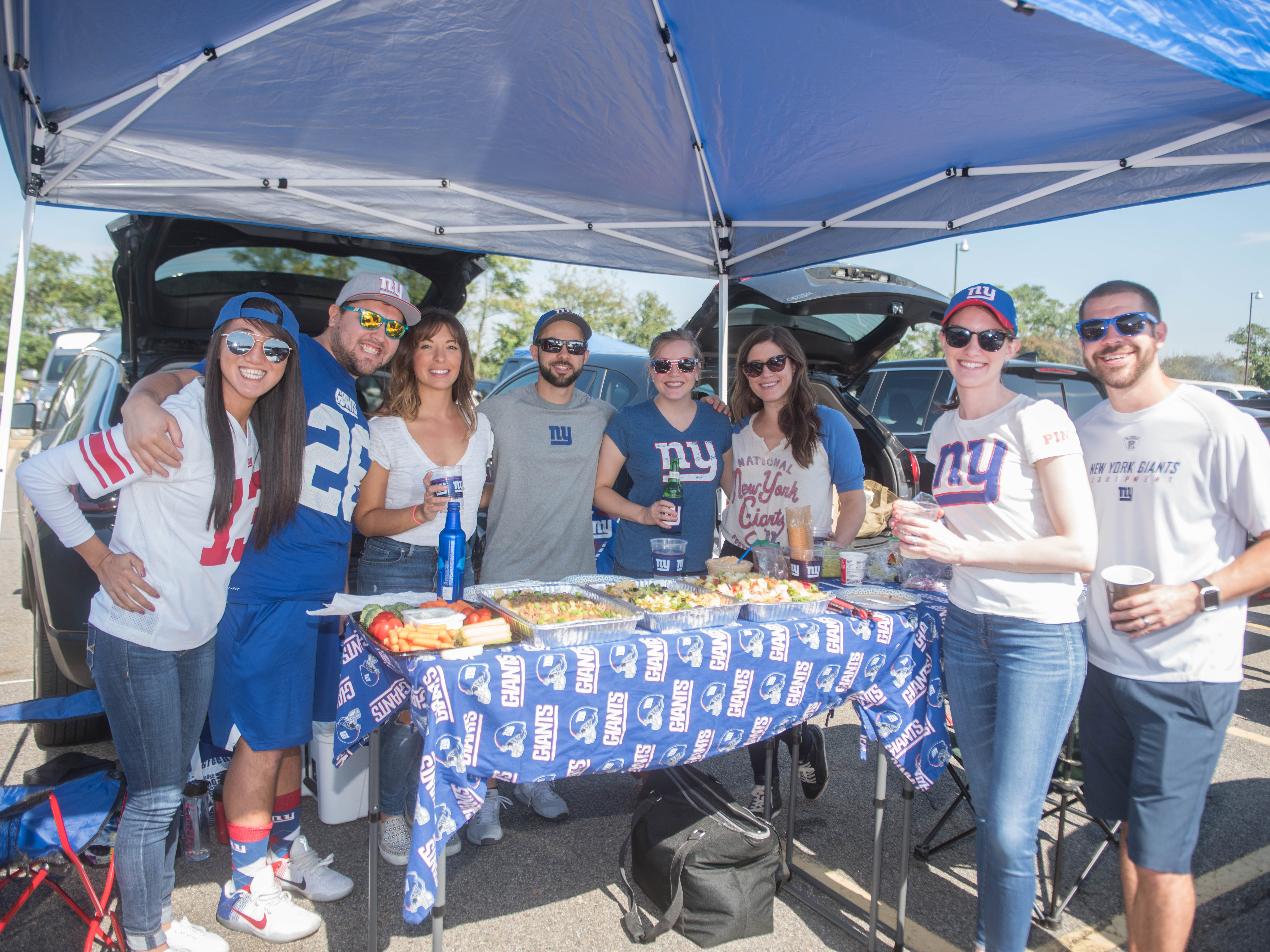 Ajurah, Matt, Lauren, Evan, Kate, Gina, Kaitlyn and Vincent at the Giants vs. Saints tailgate party, Sunday, Sept. 30, 2018.