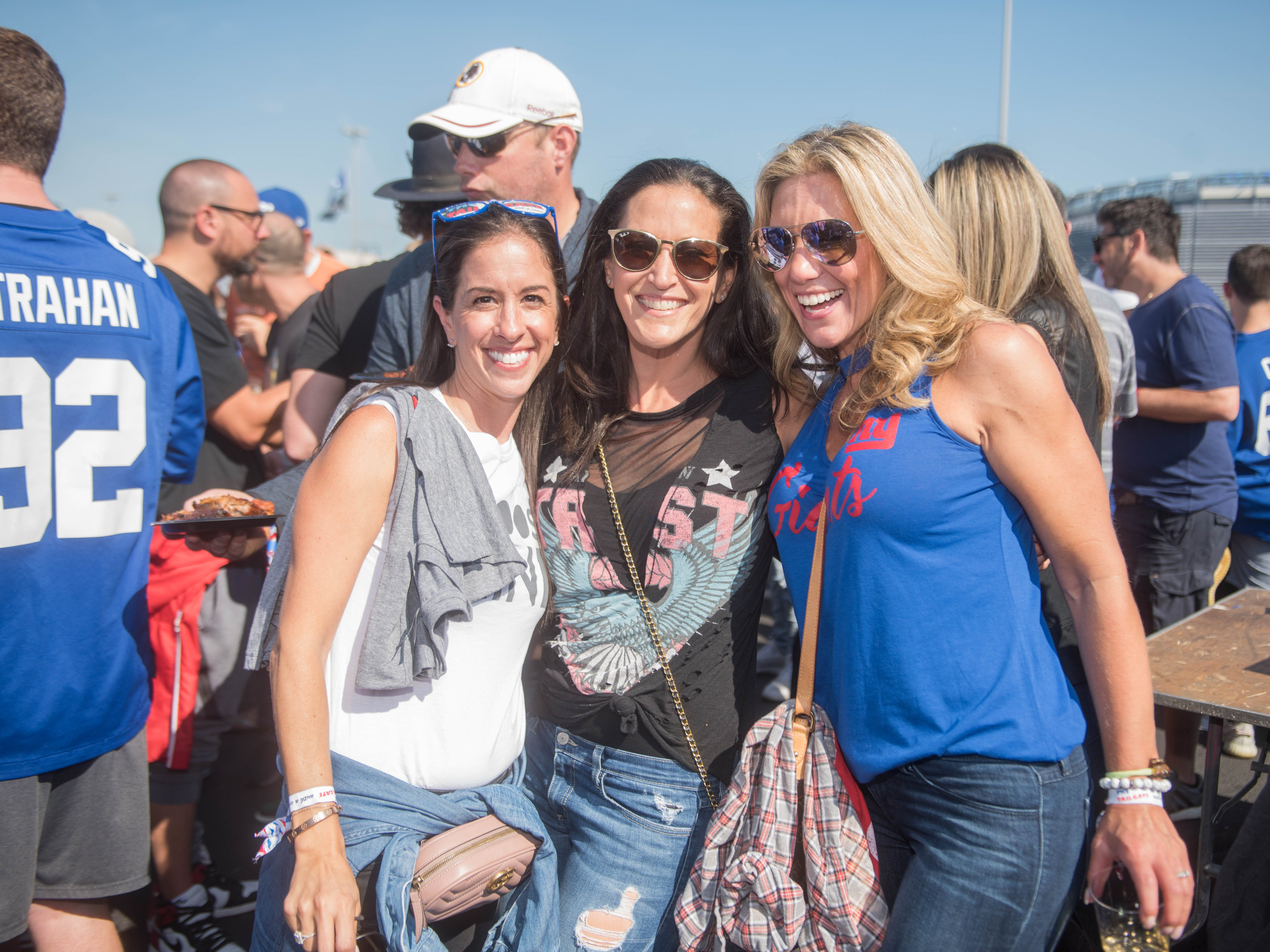 Marissa Rown, Michelle Levitt and Marissa Kochnover at the Giants vs. Saints tailgate party, Sunday, Sept. 30, 2018.