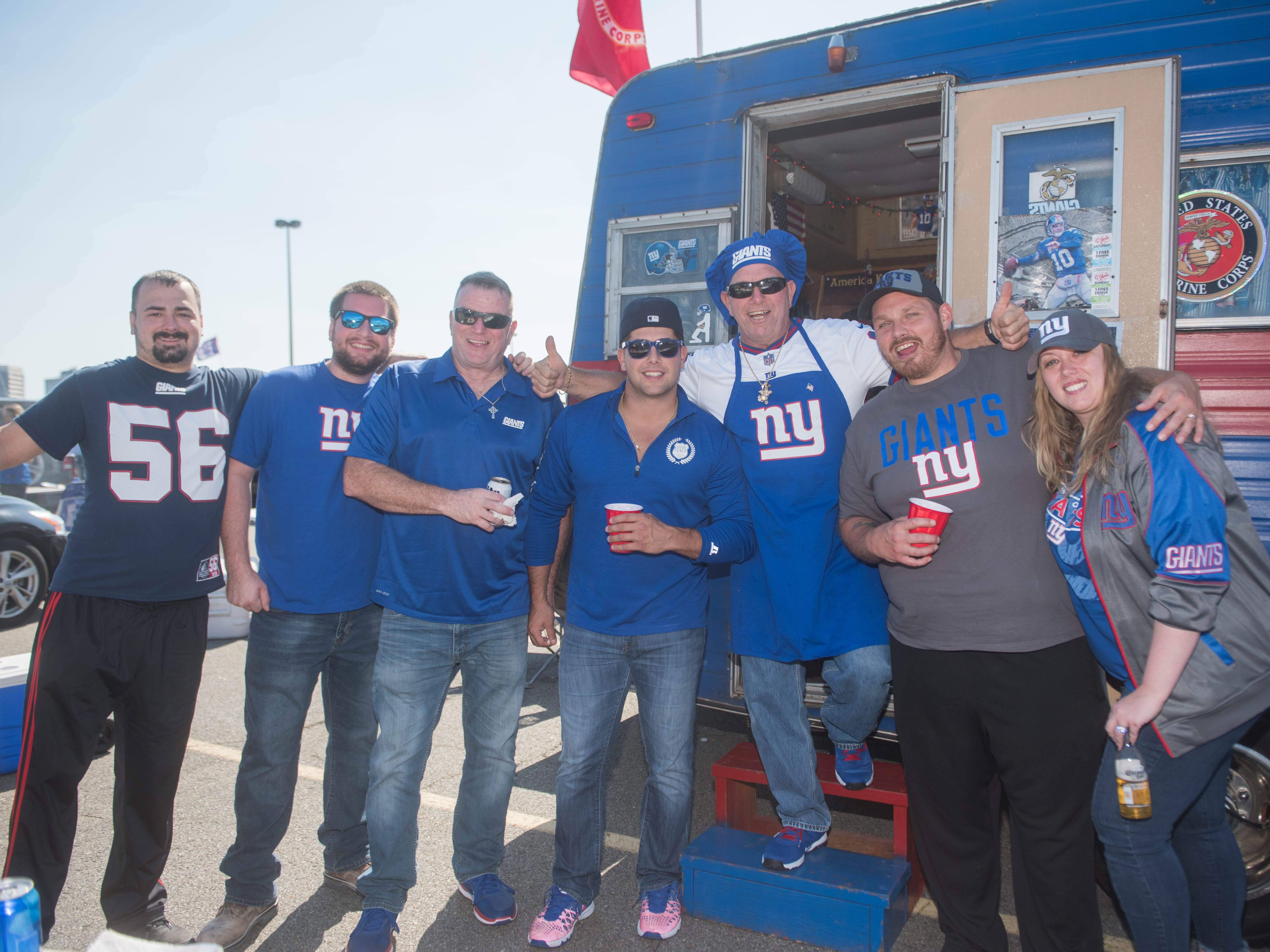 Travis, Brian, Mike, Mark Jr, Mark Sr, Christoper and Jackie at the Giants vs. Saints tailgate party, Sunday, Sept. 30, 2018.