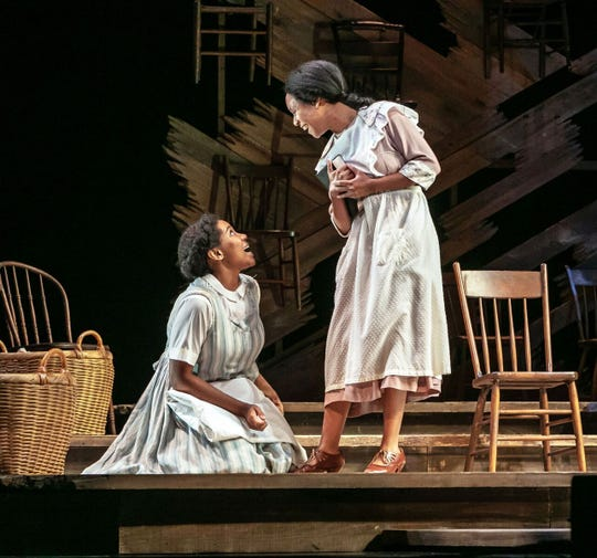 """The  Color  Purple""  at  Paper  Mill  Playhouse. Adrianna  Hicks as Celie, N'Jameh Camara as Nettie."