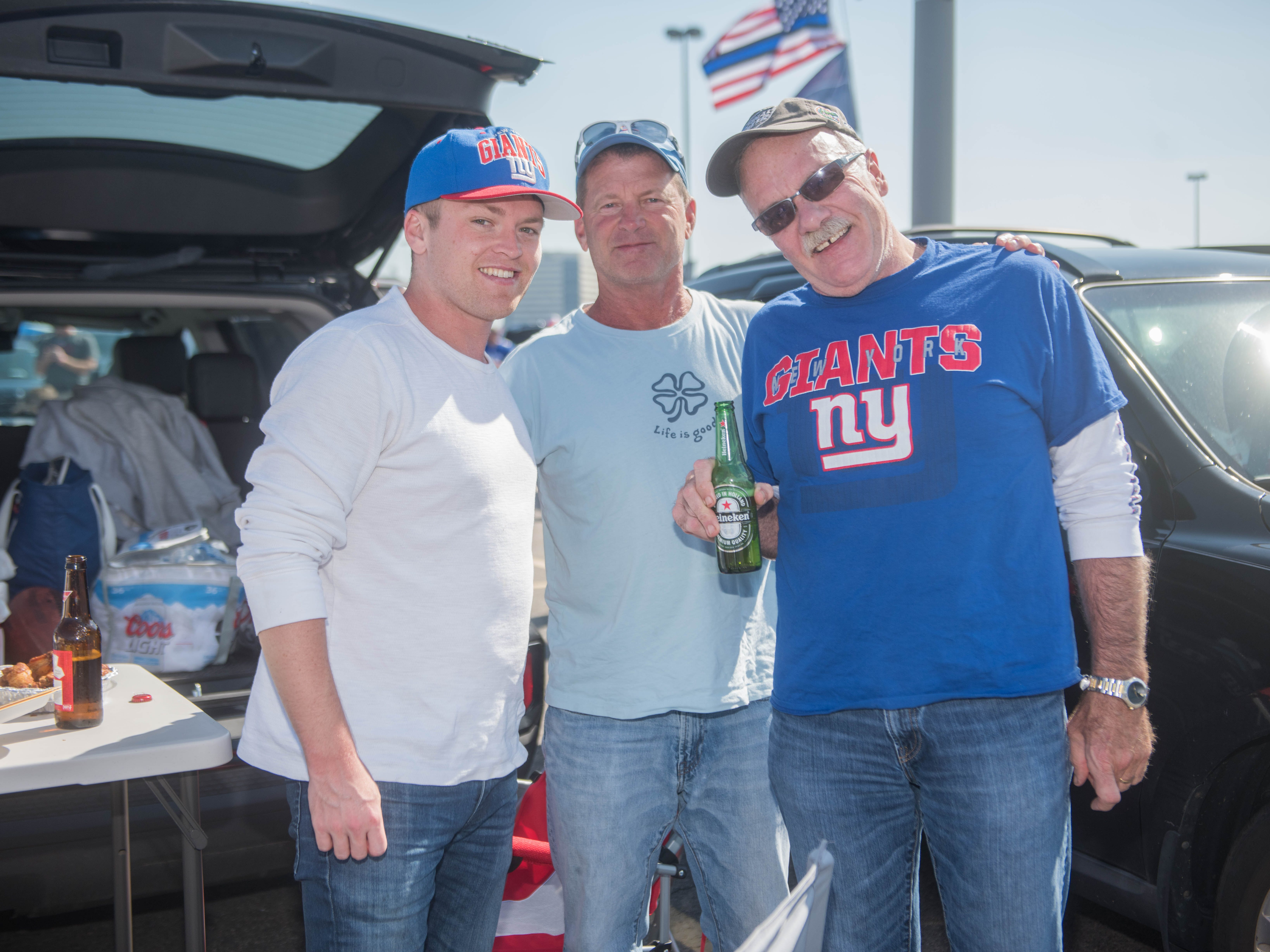 Bob Shilling Jr, Bob Shilling Sr and Kevin Tunney at the Giants vs. Saints tailgate party, Sunday, Sept. 30, 2018.