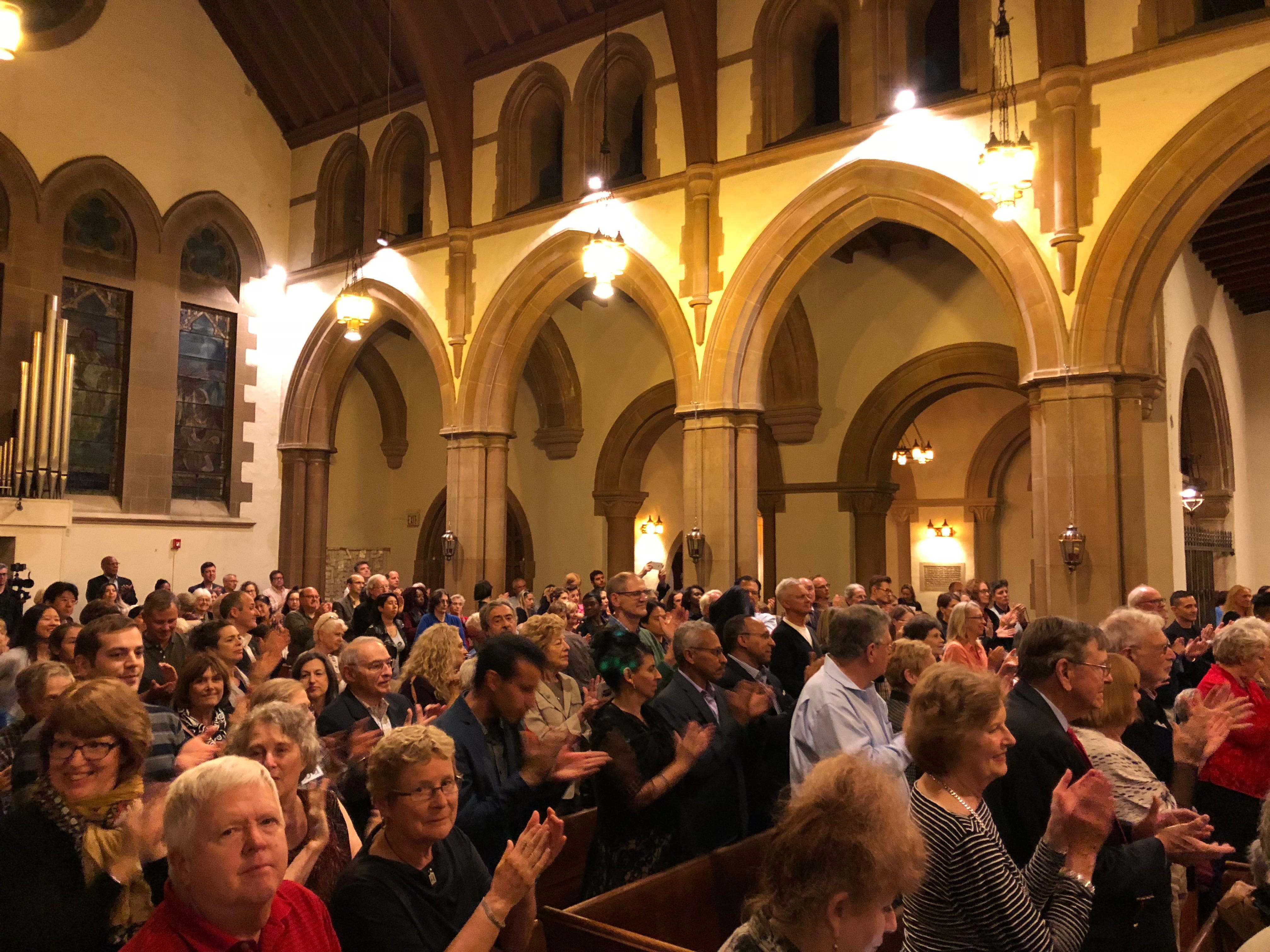 "The standing-room-only crowd at the Montclair Orchestra's ""A Shakespeare Evening"" gave the actors and musicians a standing ovation. September 30, 2018."