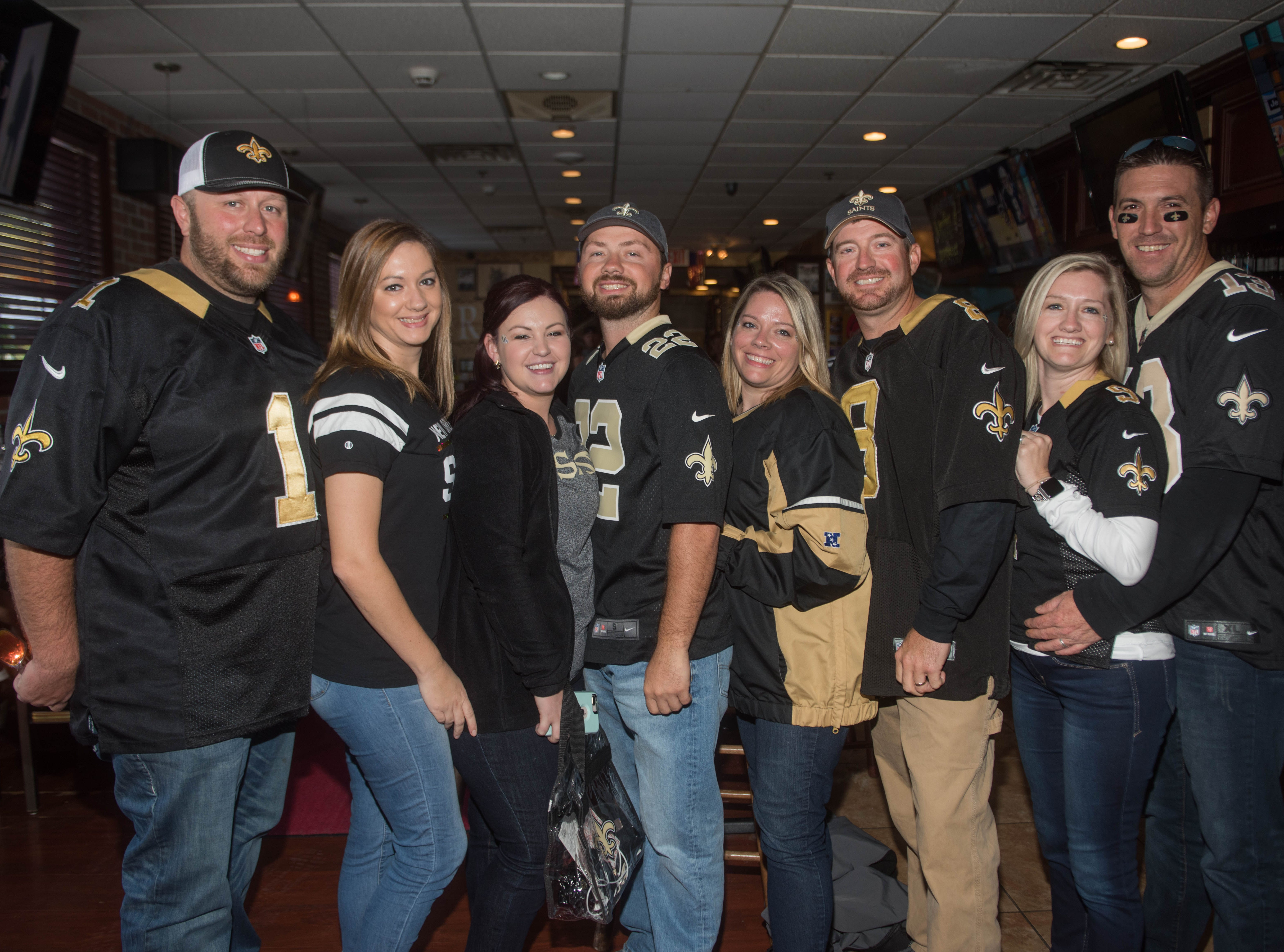 Taylor, Kelly, Tiffany, Ethan, Lacey, Derrick, Amy and Lance. The Record sports writers Art Stapleton and Dave Rivera joined fans at Redd's to talk Giants and Saints before the game. 09/30/2018