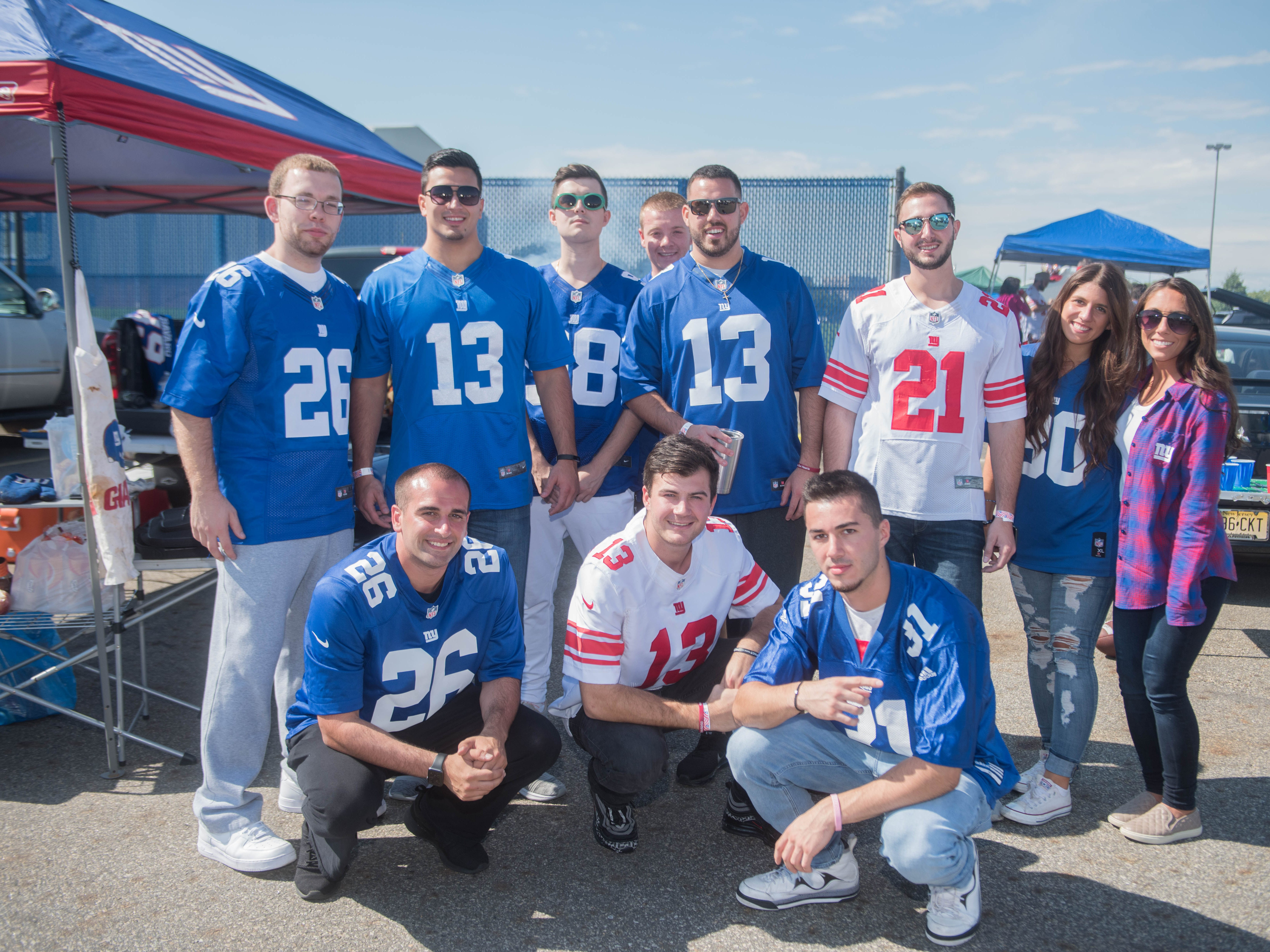 CJ, Dave, Donald, Brian, John, Gary, Stephen, Brett, Jacquelyn and Alexis tailgate at the Giants vs. Saints game Sunday, Sept. 30, 2018.