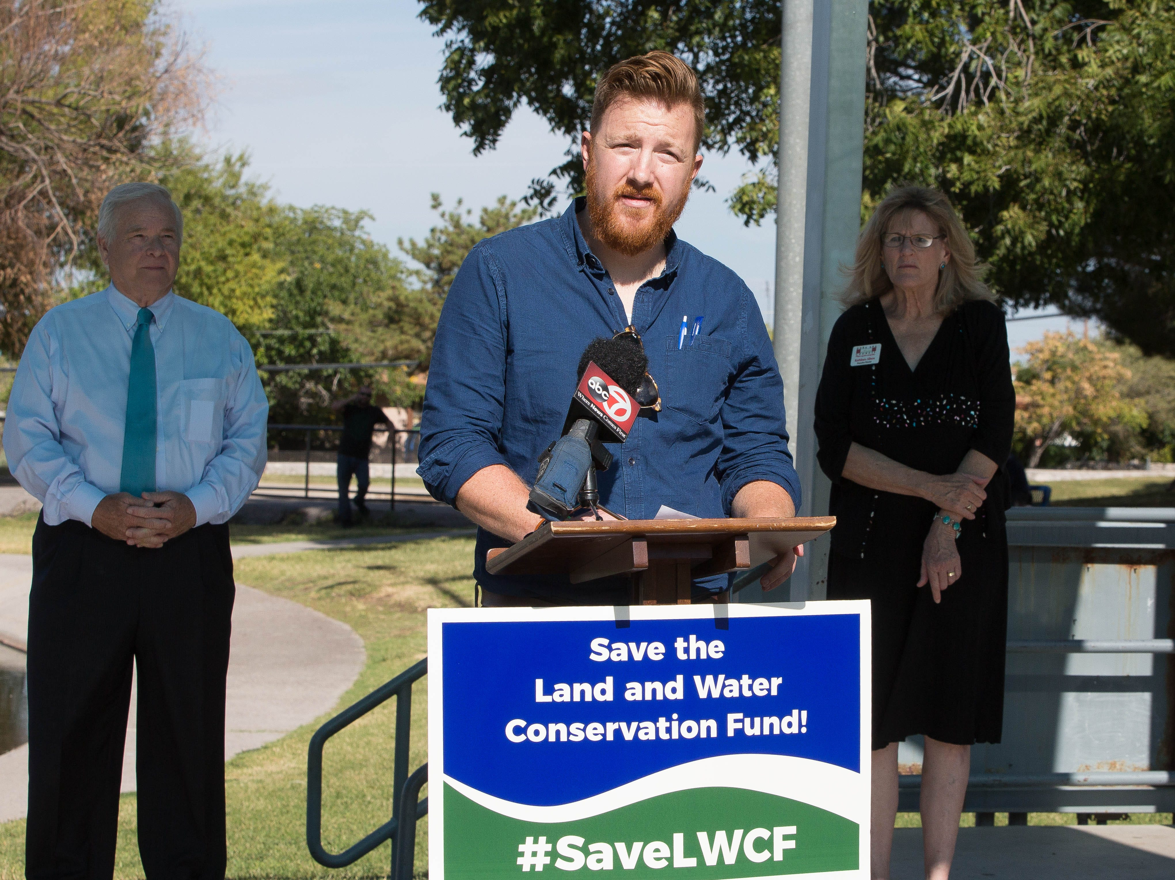 Patrick Nolan, executive director of Friends of the Organ Mountains-Desert Peaks, speaks about the Land and Water Conservation Fund, Monday October 1, 2018 at Young Park.